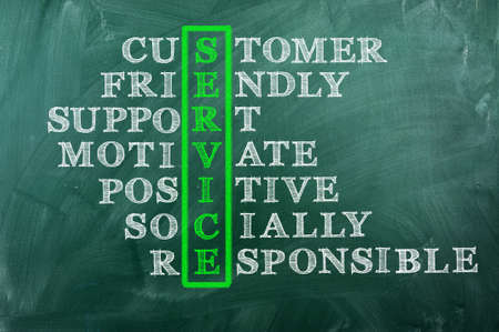 customer service concept on blackboard-customer friendly support ,socially responsible Stock Photo