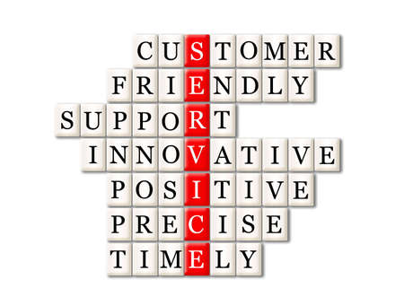 timely: customer service concept -customer friendly support,innovative,positive ,precise ,timely