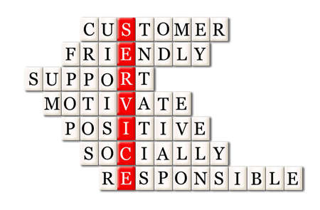 customer service concept -customer friendly support, motivate ,positive ,socially responsible