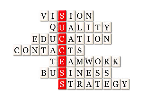 acronym of success- vision ,quality ,education, contacts, teamwork, bisiness ,strategy