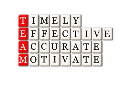 timely: Acronym of Team - timely, effective,accurate, motivate