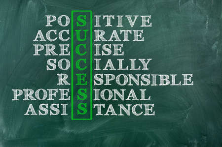 socially: Success and other related words, handwritten in crossword on green blackboard Socially responsible   Business concept  Stock Photo