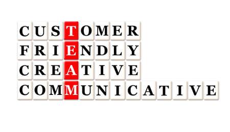 communicative: Acronym of Team - customer friendly ,creative,communicative Stock Photo