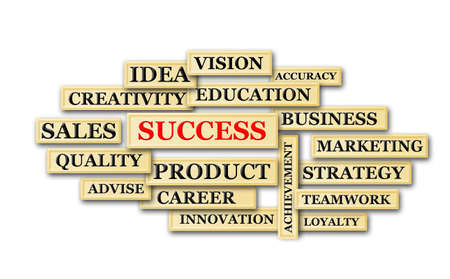 success and other   related words on blocks randomise Stock Photo - 17133418