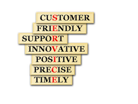 timely: customer service concept -customer friendly support,innovative, positive ,precise ,timely  Stock Photo