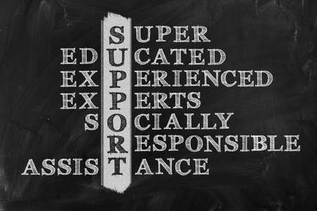 socially: customer support concept on blackboard- Socially Responsible   Assistance  Stock Photo