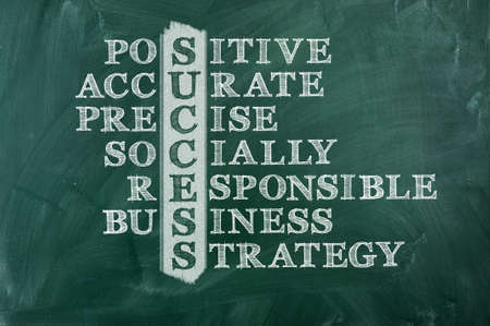Success and other related words, handwritten in crossword on green blackboard Socially responsible Business concept   Stock Photo