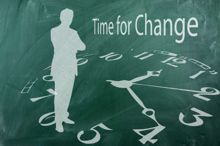 Time for change- concept on green blackboard
