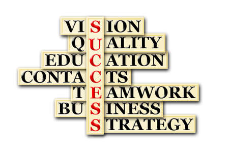 bisiness: acronym of success- vision ,quality ,education, contacts, teamwork, bisiness ,strategy  Stock Photo