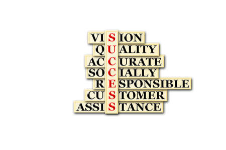 socially: acronym of success- vision,quality,accurata,socially ... Stock Photo