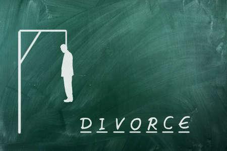 ahorcado: Juego del ahorcado en la pizarra verde, el concepto de divorcio Foto de archivo