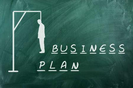 ahorcado: Juego del ahorcado en la pizarra verde, el concepto de fracaso de los planes de negocio