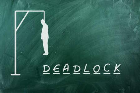 deadlock: Hangman game on green chalkboard ,concept of deadlock