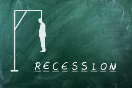 ahorcado: Juego del ahorcado en la pizarra verde, el concepto de reccesion