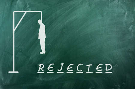 Hangman game on green chalkboard ,concept of rejection Stock Photo