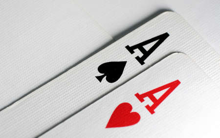 A pair of aces playing cards macro close up  photo