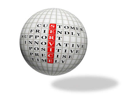 customer service concept,acronym text  on 3d sphere photo