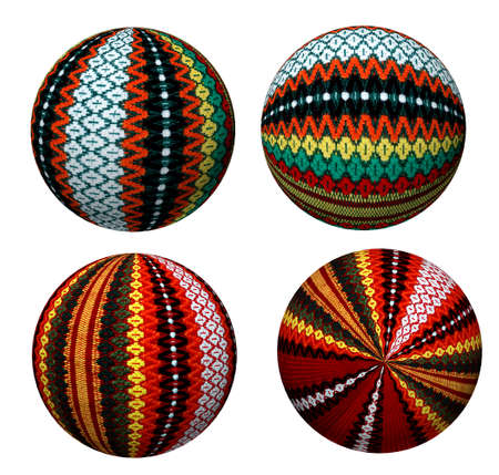 Collection of attractive decorative colored balls made of fabric. Suitable for Christmas and more. photo