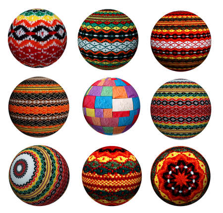 Collection of attractive decorative colored balls made of fabric. Suitable for Christmas and more. Stock Photo - 23243649
