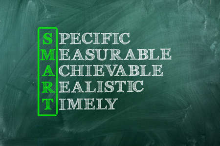 Acronym concept of Smart  and other releated words on green chalkboard photo
