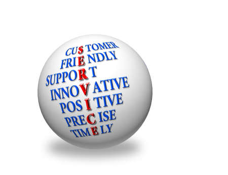 customer service acronym concept,acronym text on 3d sphere  photo