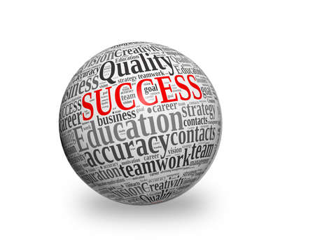 SUCCESS, in a word cloud designed in a 3D sphere with shadow  photo