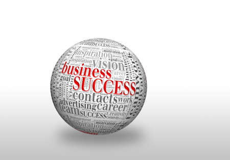 Business  SUCCESS, in a word cloud designed in a 3D sphere with shadow photo