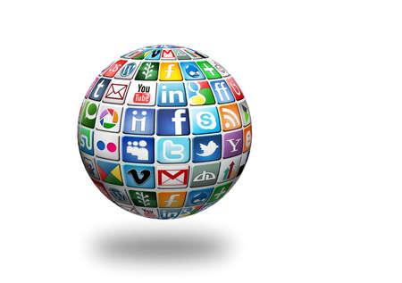 google plus: Gabrovo, Bulgaria-11 de enero de 2013. Una colecci�n logotipo medios de comunicaci�n social de la conocida red social marca colocada en la esfera 3D. Incluya Facebook, YouTube, Twitter, Google Plus, Instagram y m�s otros logos.