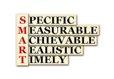 relevant: acronym of Smart and other  relevant words on white Stock Photo
