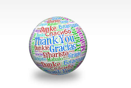 Conceptual thank you word cloud written on 3d sphere. Terms in different languages such as merci, mahalo, danke, gracias, kitos, grazie and more.  Stock Photo