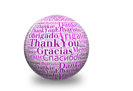 merci: Conceptual thank you word cloud written on 3d sphere. Terms in different languages such as merci, mahalo, danke, gracias, kitos, grazie and more.