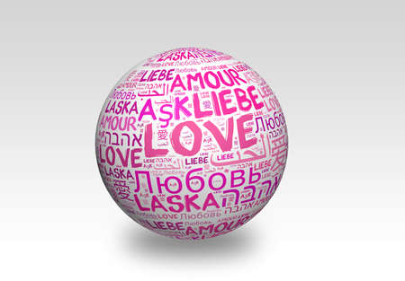 Love concept word cloud in many languages of the world photo