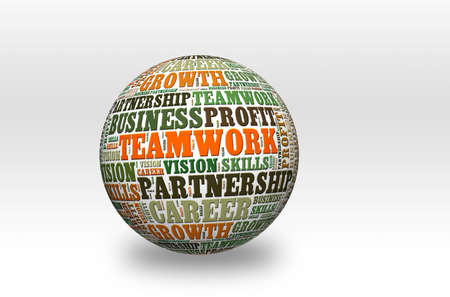 word cloud of Teamwork  and other releated words on 3d sphere