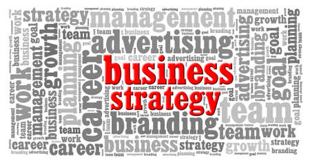 business strategy: word cloud of Business Strategy  and other releated words Stock Photo