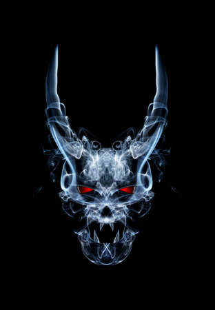 abstract daemon or devil skull , made from smoke