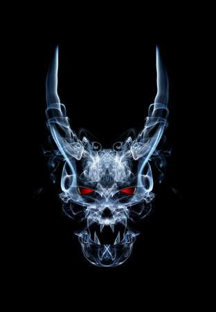 abstracte daemon of duivel schedel, gemaakt van rook