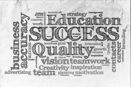 word cloud of Success  and other releated words sketch on durty paper photo