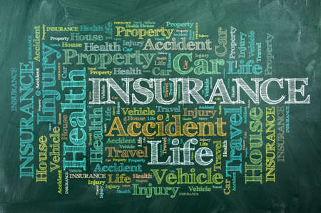 word cloud of Insurance  and other releated words on green  blackboard photo