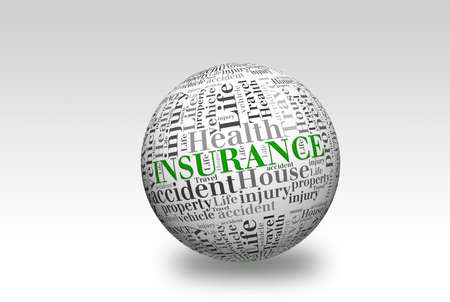 premiums: word cloud of Insurance  and other releated words on 3d sphere