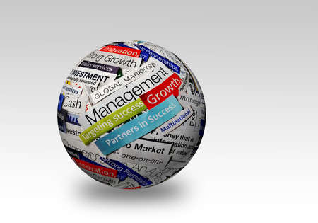 word collage: collage of paper headlines about the world economy on 3D sphere Stock Photo