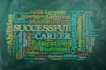 Career in word cloud  on green chalkboard . photo