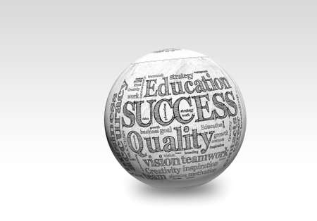 Business SUCCESS, in a word cloud designed in a 3D sphere with shadow
