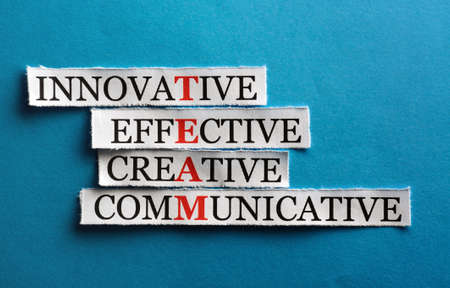 team  acronym  in business concept, words on cut paper hard light