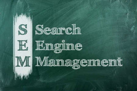 sem: SEM term acronym  explanation on green chalkboard