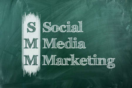 SMM  Social Media Marketing with white chalk on blackboard.  photo
