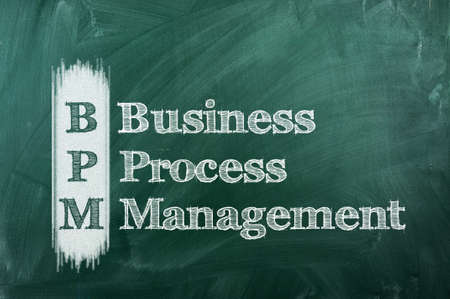 bpm: BPM business process management  on a green chalkboard Stock Photo