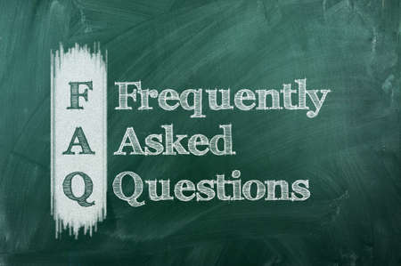 frequently asked question:  frequently asked question ( FAQ ) concept for website service on chalkboard