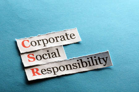 Corporate social responsibility (CSR) concept on paper Stock Photo
