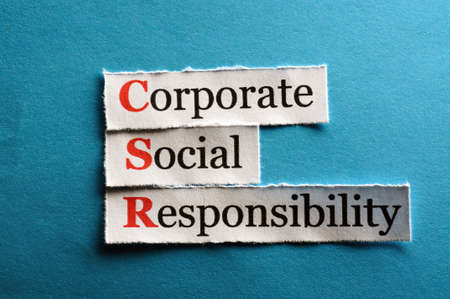 corporate responsibility: Corporate social responsibility (CSR) concept on paper Stock Photo