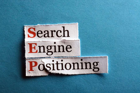 sep: acronym sep - search engine positioning on blue paper